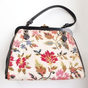 Vintage 60's Mod Floral Tapestry Top Handle Bag